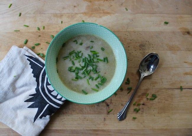 Sopa de patatas con puerros    Intercambio de semillas de exposición al sur